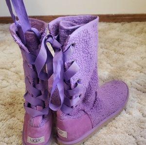 Purple knit lace up uggs